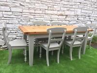 Beautiful Chunky Farmhouse Table & 6 Chairs Vintage Shabby Chic