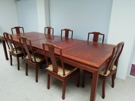 High quality, solid hardwood, fine dining, table and chairs
