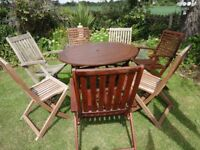 LARGE GARDEN FURNITURE SET -- TABLE AND 7 CHAIRS