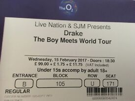 2x Drake tickets for 15th February. Block 105 Row U. £125 each