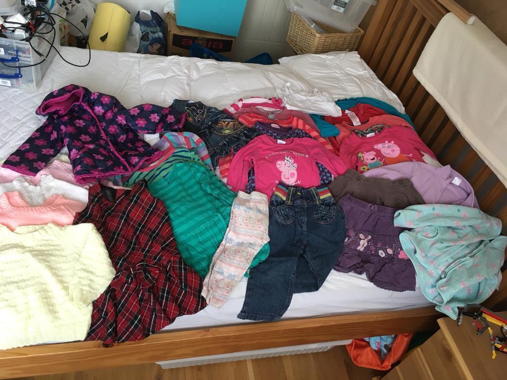 Girls winter bundle 2-3 clothes 28 items coat tshirts dresses skirts pjs