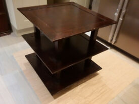 Three tier square wooden table