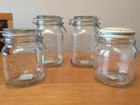 4 x vintage style clip / preserve jars 2 x 1000ml 2 x 1500ml NEW & UNUSED