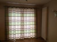 Ring top lined curtains 90x90 lime green and cream