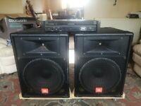 P A JBL speakers & power amp