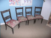 Antique Dining or Kitchen Chairs x 4 Comfy Sprung Seats Edwardian