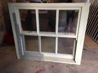 Sash window -double-glazed, solid wood, 6 pane, with fittings.
