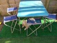 Vintage retro folding picnic table and four chairs