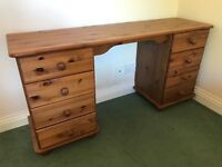 Pine dressing table (or desk) with drawers!!! and other items...