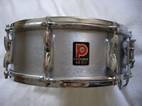 "Premier Model 37 Hi Fi alloy snare drum - 14 x 5 1/2"" - Circa 1972- Brushed Chrome - England"