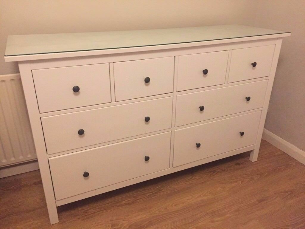 Ikea Hemnes Chest Of 8 Drawers W Gl Top White Stain Great Condition