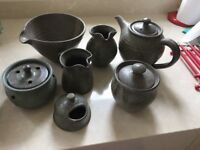 Hand made teapot, sugar bowl plus additional items