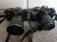 2x Ricoh KR10 35mm cameras with lenses and complete darkroom kit