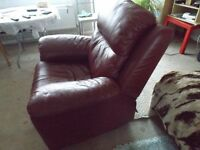 Leather dark cherry Armchair
