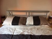 Double divan with draw at end, mattress and headboard. Size 4,6 by 6,4. Collection only. £75