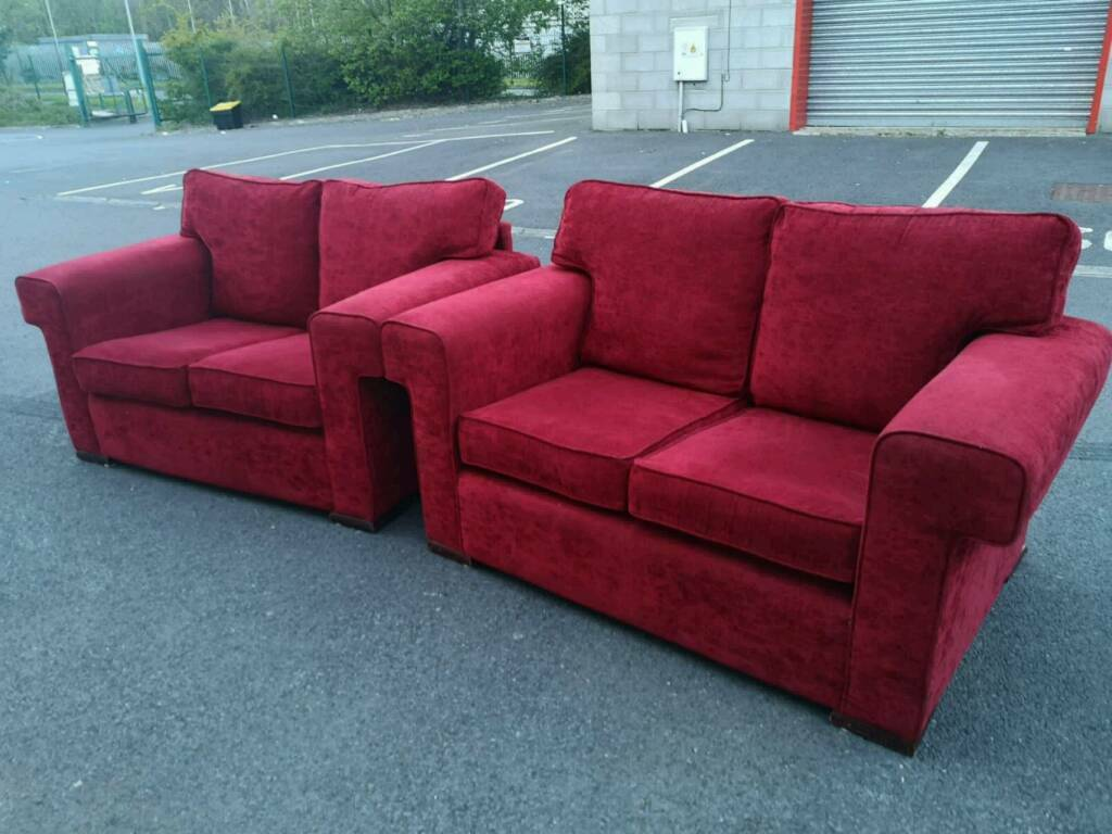 Peachy Pair Of Red Fabric 2 Seater Sofas In Dunmurry Belfast Gumtree Gmtry Best Dining Table And Chair Ideas Images Gmtryco