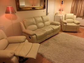 Sofa suite cream faux leather all recliner - 3 seater + 2 chairs, local delivery