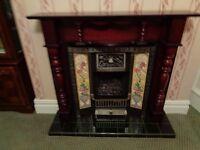 wooden fire surround mahogany colour gas cast iron look fireplace floral tiles nouveau good as new