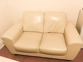 Handmade Italian cream, 2 seater leather sofa, premium hovells product cost £550