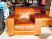 Fantastic condition brown leather 3 piece suite and futon