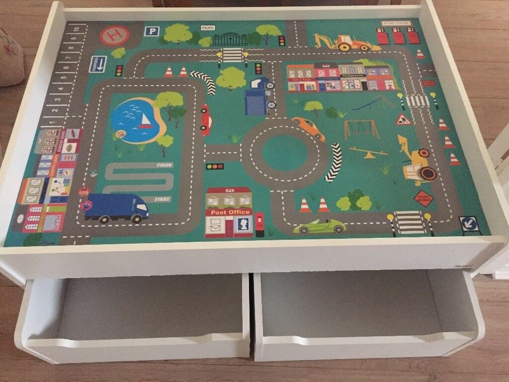 Kids wooden play table with two storage draws
