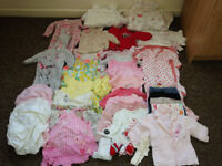 Baby Girls 0 -3months inc dresses,vests,jumpers, sleeping bag some new will post out