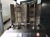 COMMERCIAL CATERING EQUIPMENT TWIN GAS DONER KEBAB MACHINE RESTAURANT TAKEAWAY CHICKEN SHOP