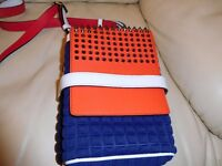 Christian Louboutin Blue Red Spiked Shoulder Bag and Studded Leather New
