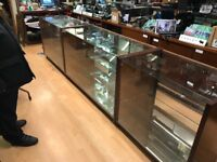 Vintage shop display cabinets glass frontage mirror backed 3 matching