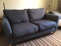 John Lewis Sofa and Chair in dark blue/grey Linen fabric