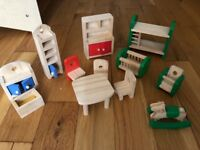 Wooden dolls house, dolls and furniture included £15