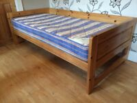 PINE BED WITH AND MATTRESS