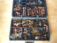 Various brass and copper pipe fittings