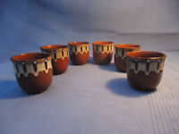 'Vintage' Six Bulgarian Troyan ware goblets.