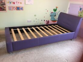 Single Purple faux leather bed