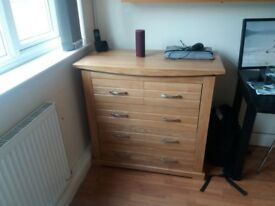 Oak Wardrope 185cm H, 60cm D, 1m W, and chest of drawers 90cm H, 50cm D, 1m W. In good condition.