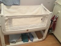 White SnuzPod² Crib- Comes With Mattress (unused) & Straps (Next to Me & Beside Me)
