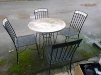 Garden patio table with 4 chairs