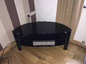 Black glaze 3 tier TV and cabinet stand