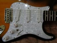 ND-40 HANDMADE LOADED SSS PEARL WHITE NEODYMIUM PICKGUARD WITH COIL TAP ON N&B AND TREBLE BLEED