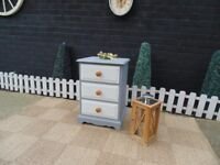 SOLID PINE FARMHOUSE SINGLE BEDSIDE CABINET WITH DOVETAIL DRAWERS PAINTED WITH LAURA ASHLEY PAINT