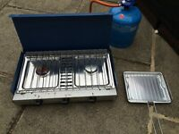 2 Burner Camping Gas Stove With Full Gas Bottle