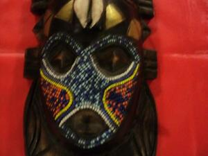 "VINTAGE African Mask Beaded Face HAND MADE in GHANA 10"" X 5"""