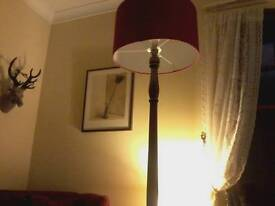 Dark wood standard lamp with carved base. Perfect condition but could be upcycled