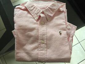 Ralph Lauren Striped Oxford Shirt - pink new size 7