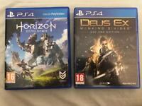 PS4 Games: Horizon Zero Dawn + Deus Ex