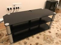 "Alphason black glass and metal TV stand suitable for 50"" TV"