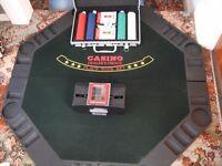 poker table top, case of poker chips & card shuffler