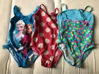 3 x girls swimming costumes age 3-4 years