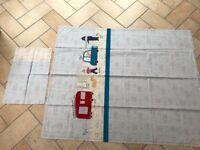 Cot bed duvet set, John Lewis, Men at Work appliqué duvet cover with pillow case